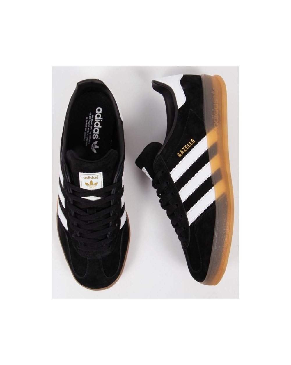 mens adidas black & white gazelle indoor trainers
