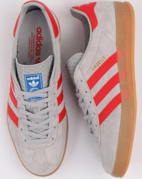 63c0497f7e5a adidas Trainers Adidas Gazelle Indoor Trainers Grey red
