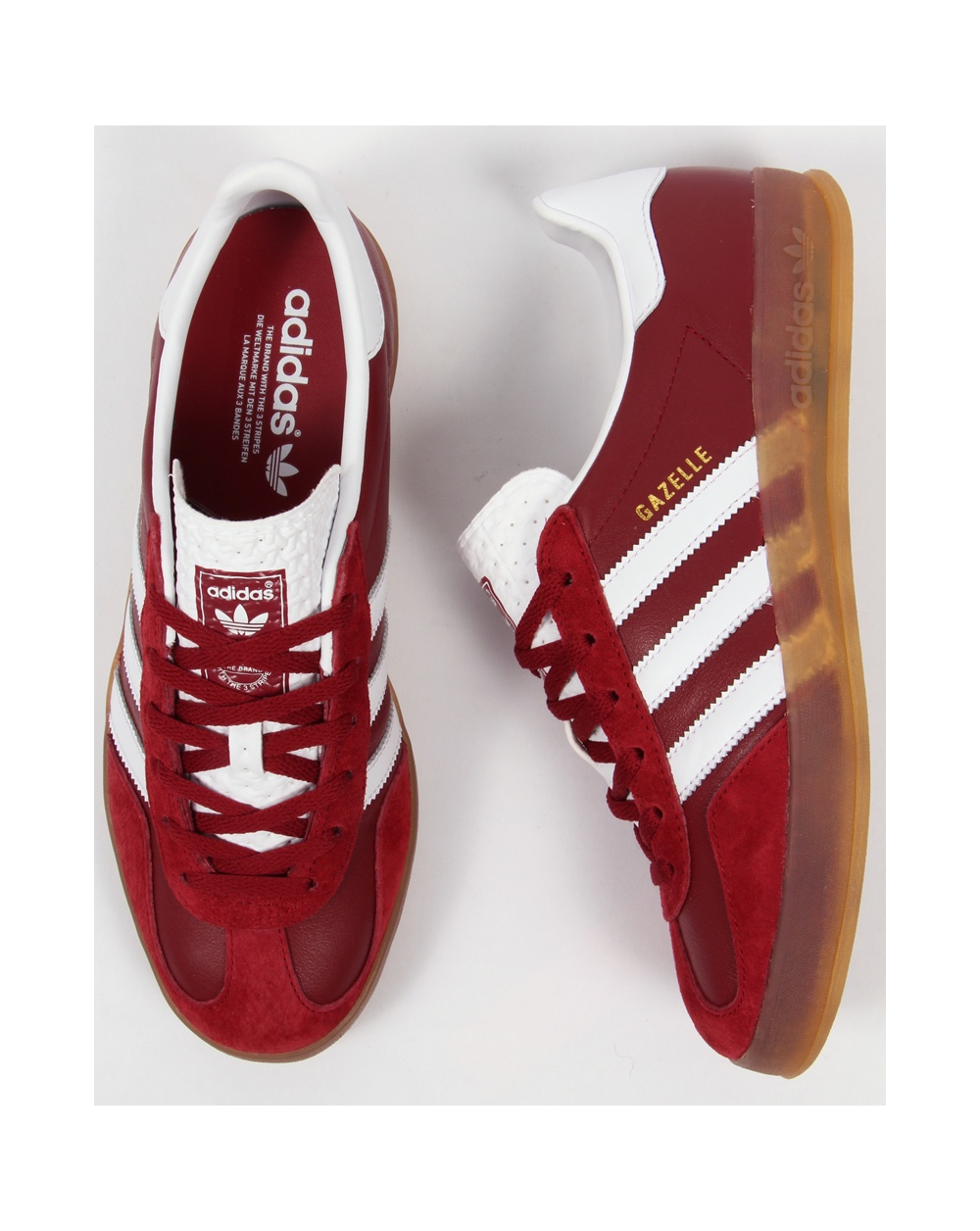 Adidas gazzella indoor formatori ruggine rosso / bianco, originali, Uomo