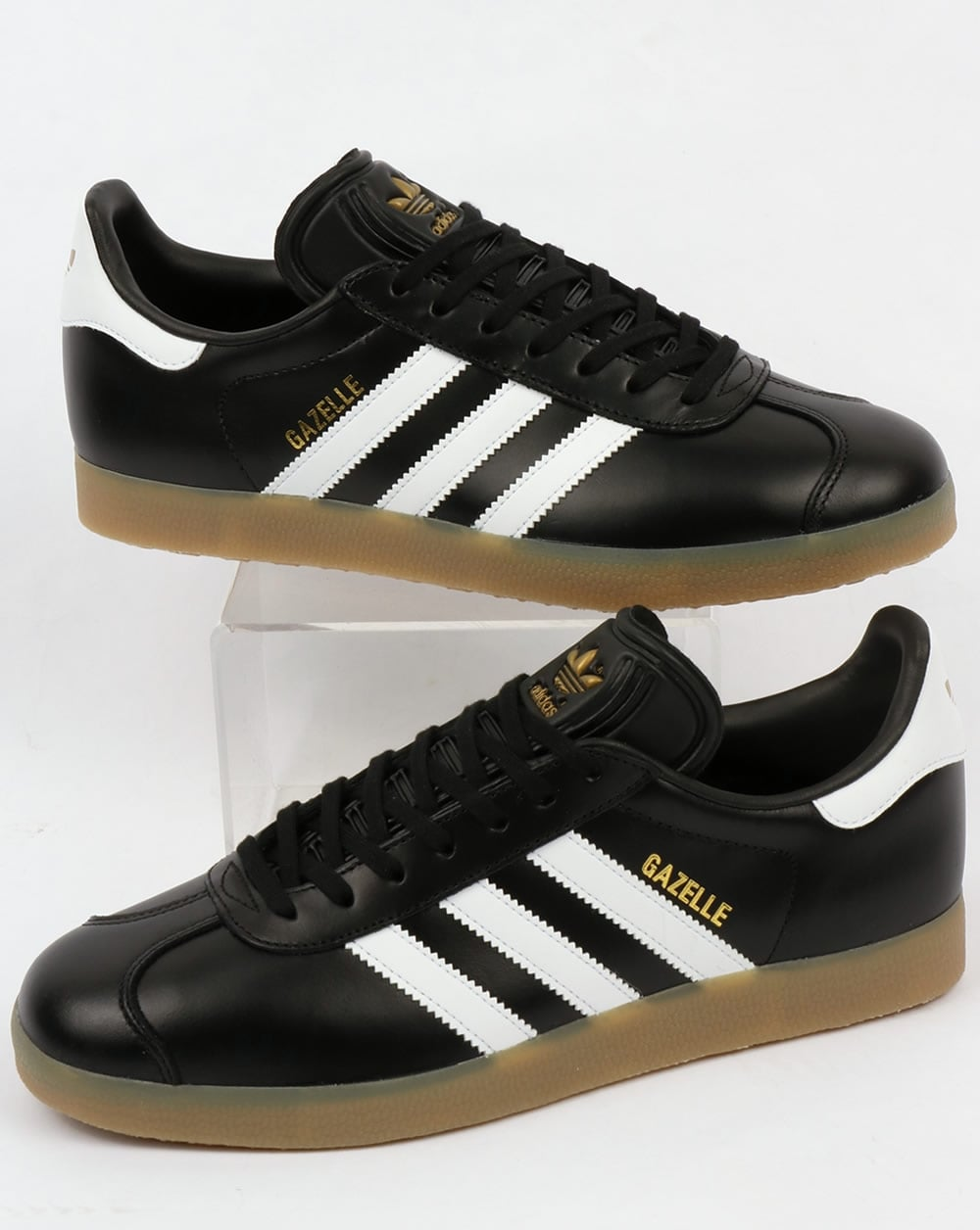 huge discount 6b56d 8d0f6 adidas Trainers Adidas Gazelle Leather Trainers BlackWhite Gum
