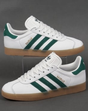 Adidas Trainers Adidas Gazelle Leather Trainers in White/Green/Gum