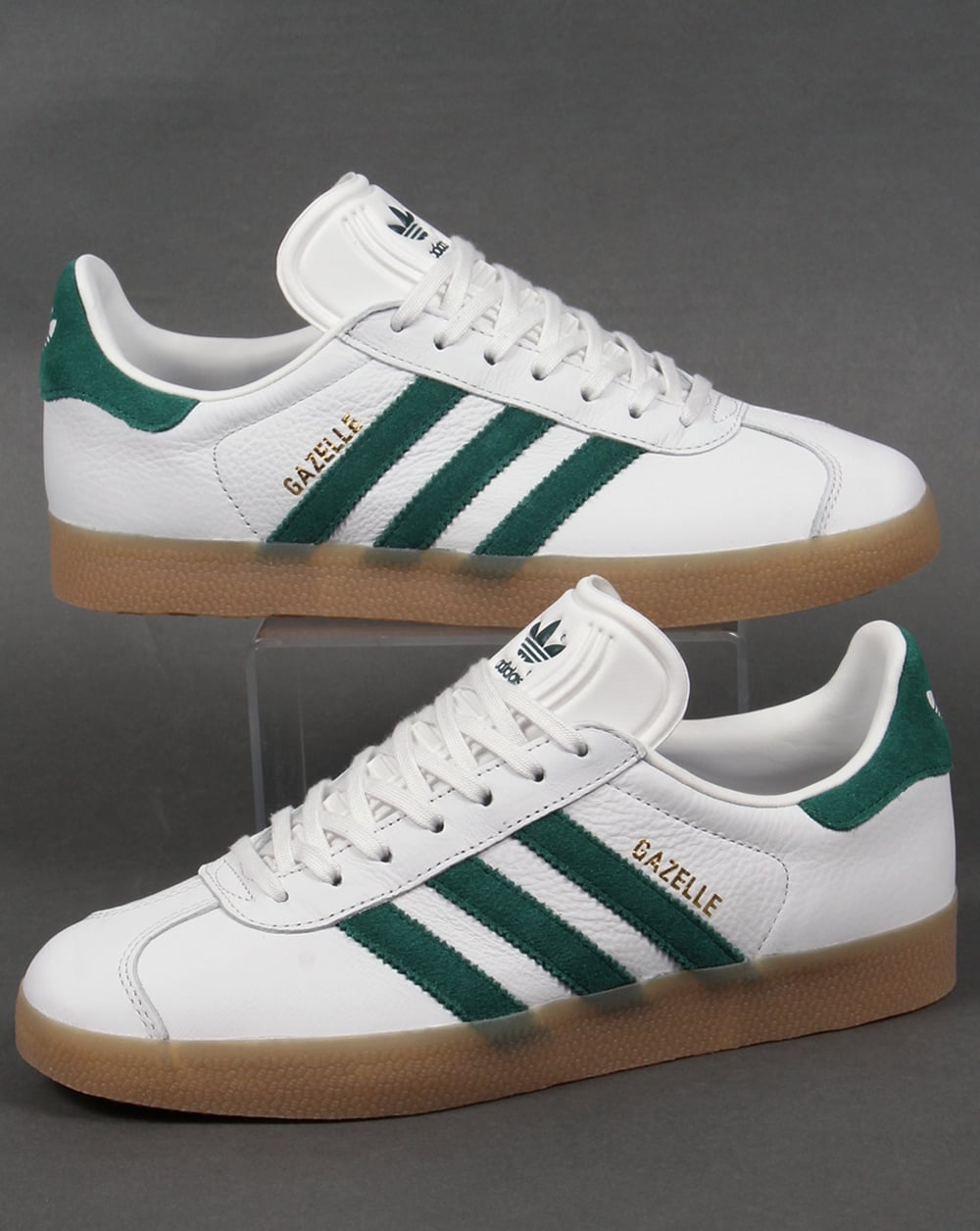 Adidas Gazelle Leather Trainers in White/Green/Gum