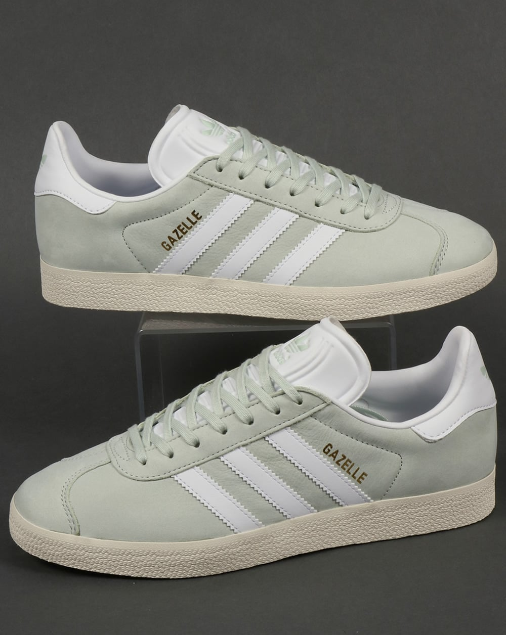 adidas Trainers Adidas Gazelle Leather Trainers Linen Green White 247eb2600