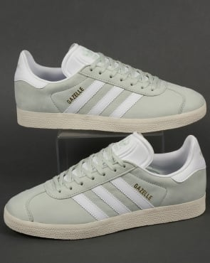 adidas Trainers Adidas Gazelle Leather Trainers Linen Green/White