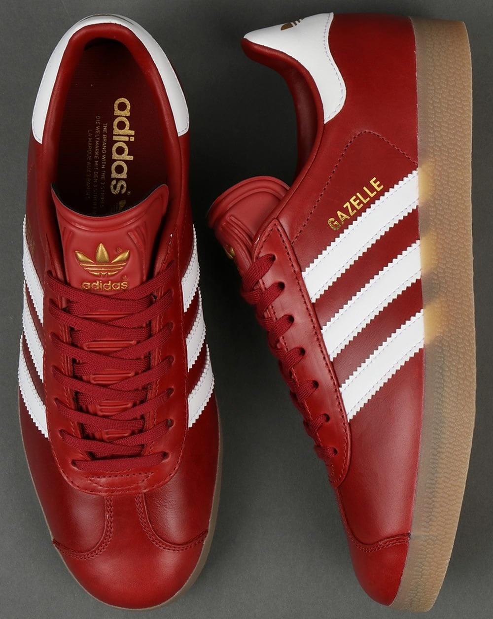 release date a65fb 48090 Adidas Gazelle Leather Trainers Oxblood Red White gum