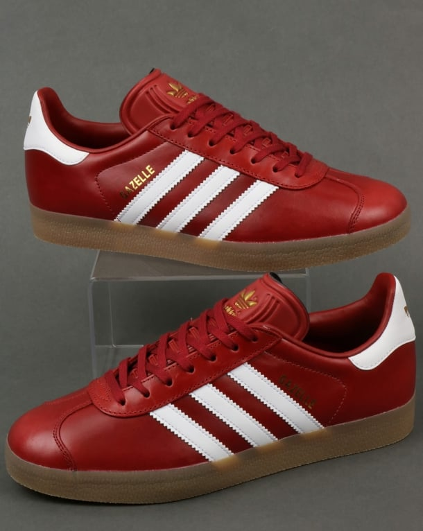 d0782daa830 Adidas Gazelle Leather Trainers Oxblood Red White gum
