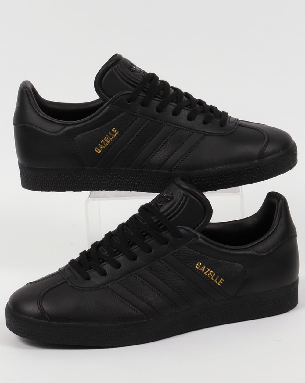 143c869e18a adidas Trainers Adidas Gazelle Leather Trainers Triple Black