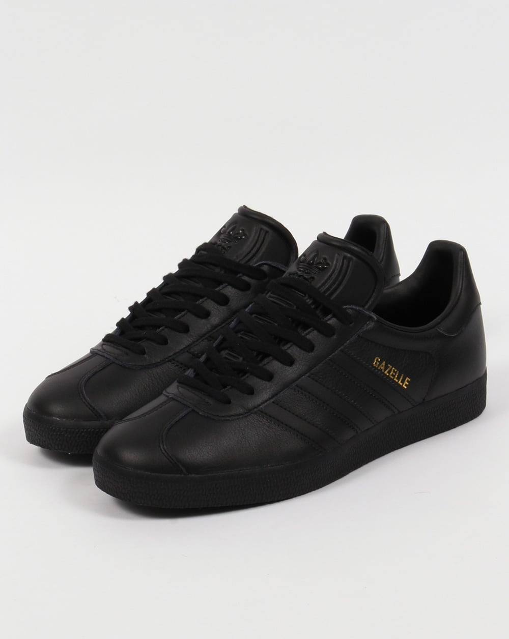38ff64188b64 Adidas Gazelle Leather Trainers Triple Black