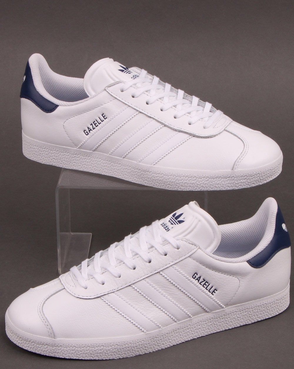 Adidas Gazelle Leather Trainers WhiteNavy
