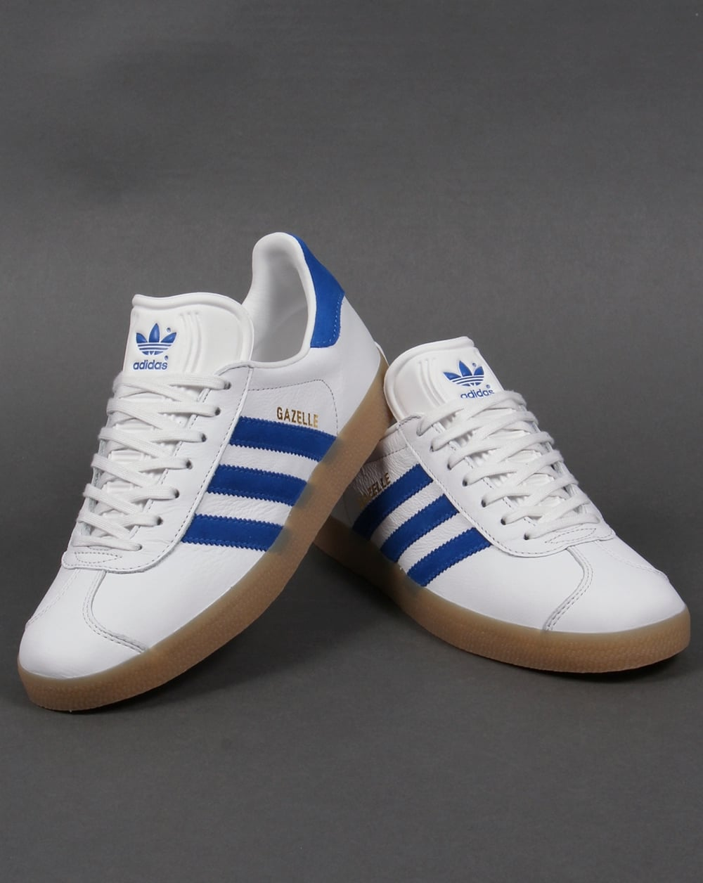 179c6190f582b3 Adidas Gazelle Leather Trainers White Royal Gum