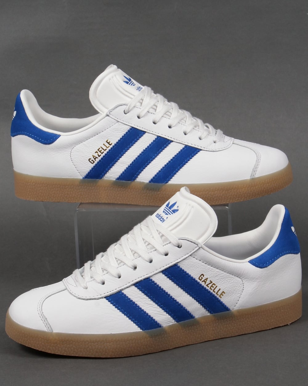 adidas Trainers Adidas Gazelle Leather Trainers White Royal Gum b8ca6d94c