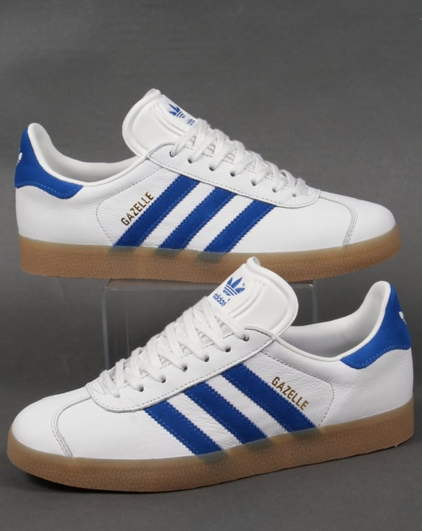 Adidas Gazelle Leather Trainers White/Royal Gum