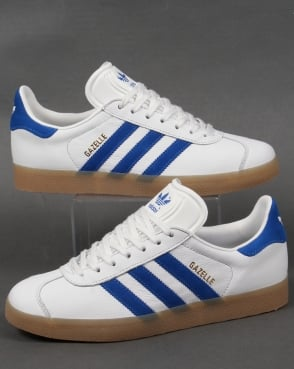 Adidas Gazelle Leather Trainers White/Royal