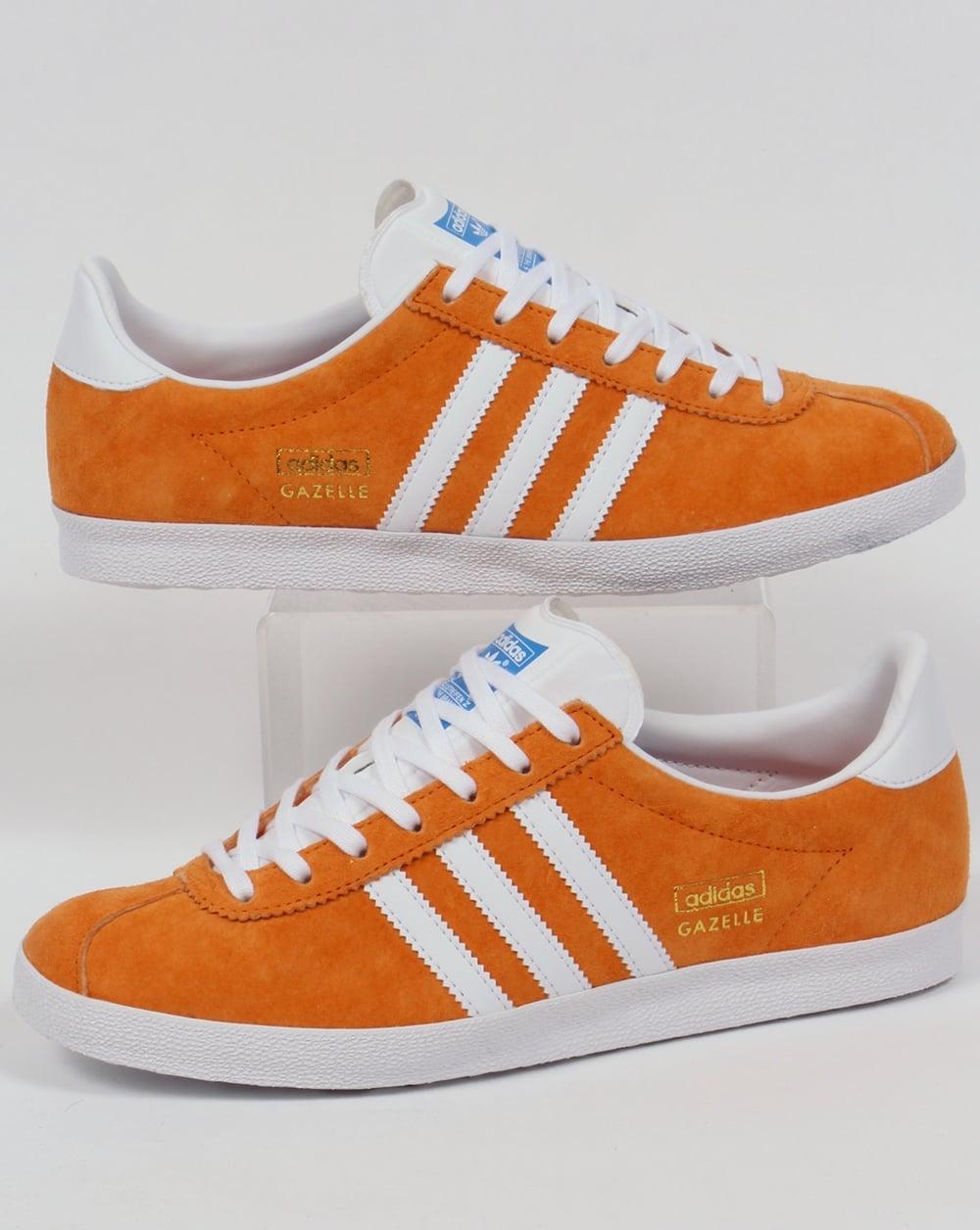 adidas gazelle og trainers bright orange white originals shoes. Black Bedroom Furniture Sets. Home Design Ideas