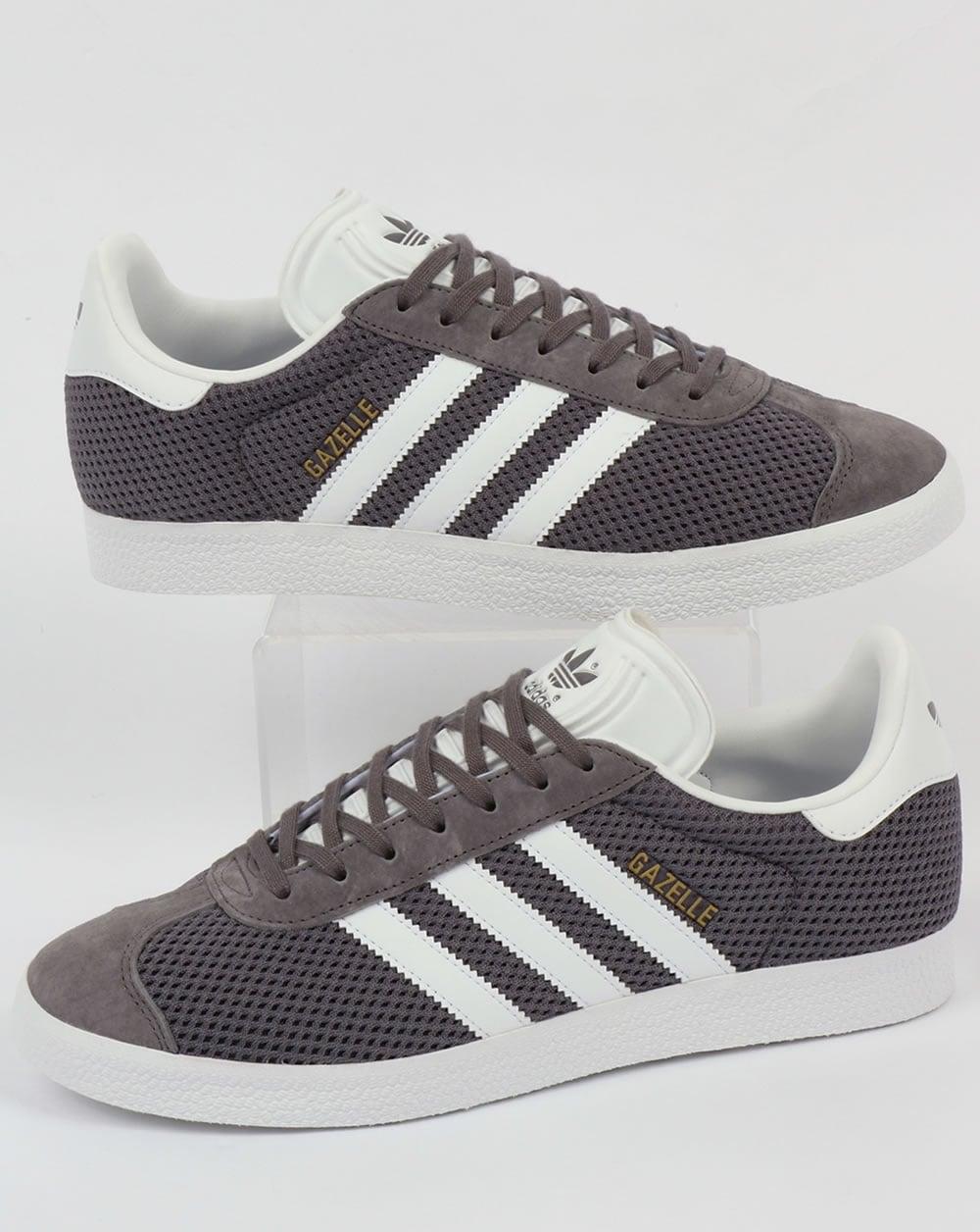 Adidas Gazelle Textile Trainers Trace Grey White Originals
