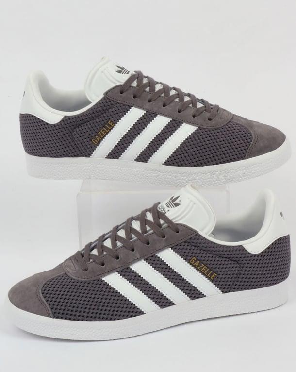 Adidas Gazelle Textile Trainers Trace Grey/White