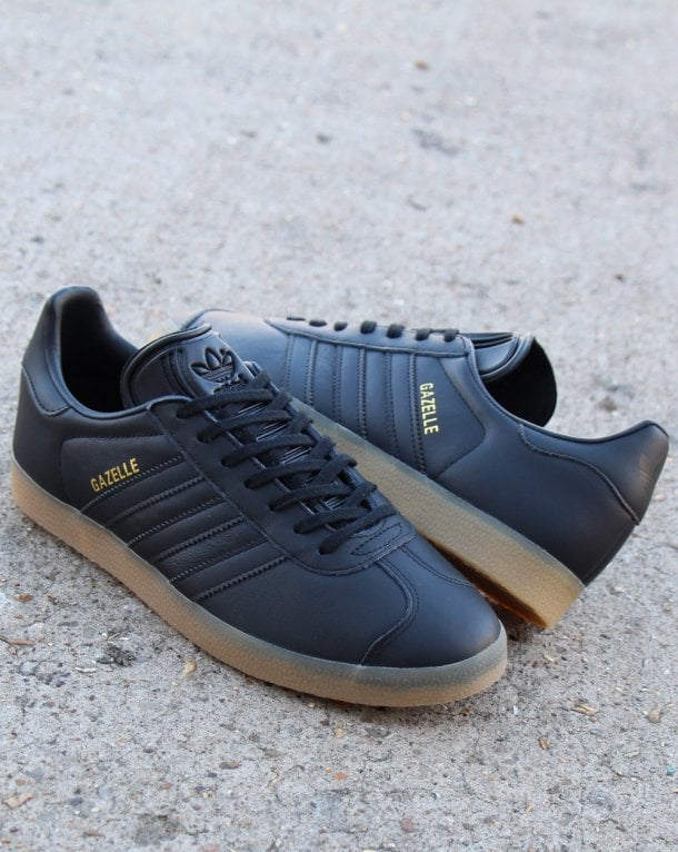 Adidas Gazelle Trainers Black Leather Gum