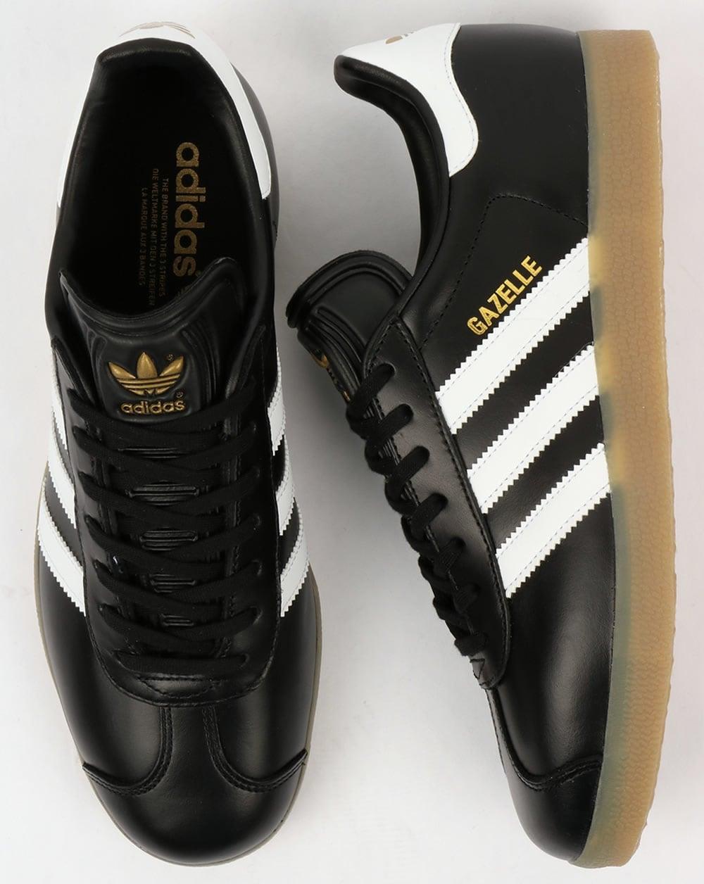 adidas black leather gazelle trainers