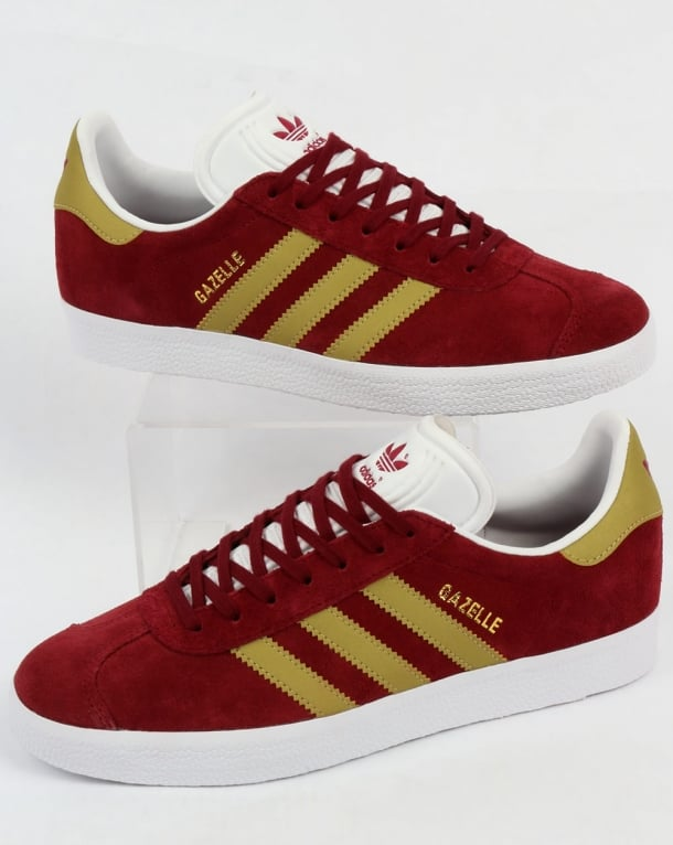 Adidas Gazelle Trainers Burgundy/Gold