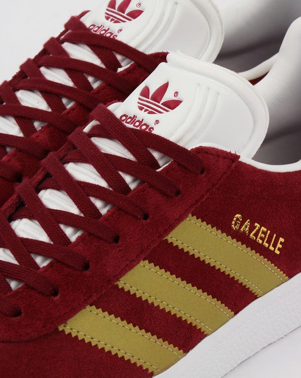 Adidas Gazelle Trainers Burgundy Gold Originals Shoes Mens