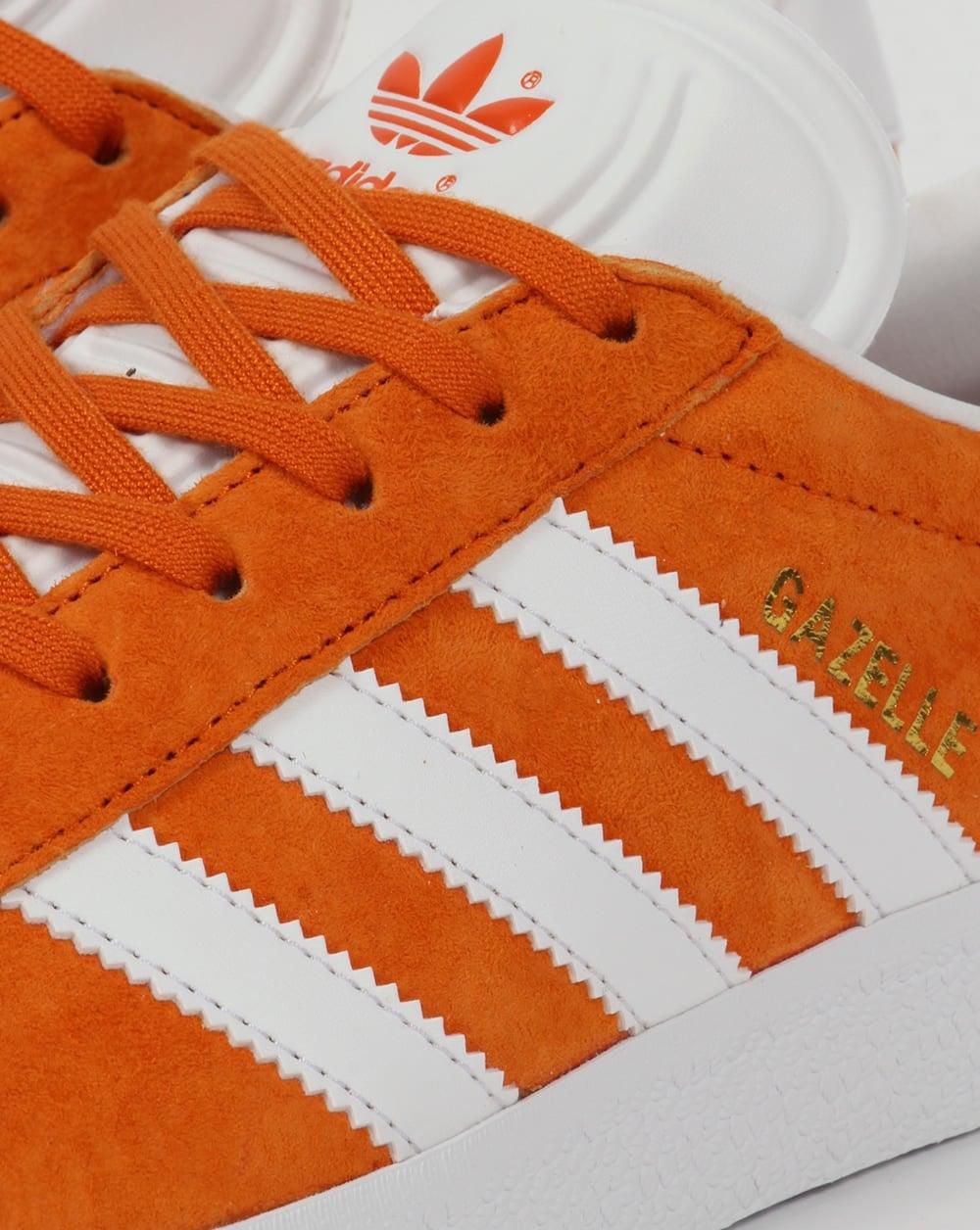 new concept 36783 b064f Adidas Gazelle Trainers Deep Orange White