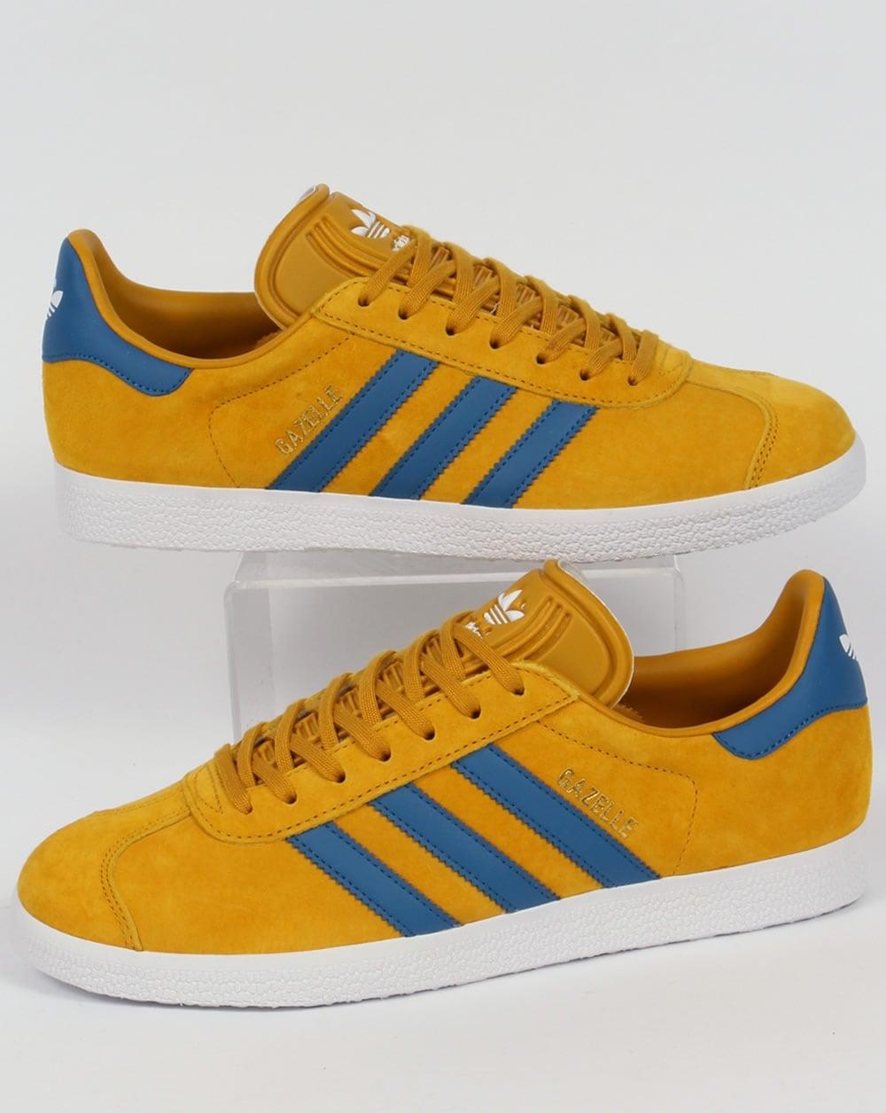 Adidas Gazelle Trainers Golden Yellow/Blue