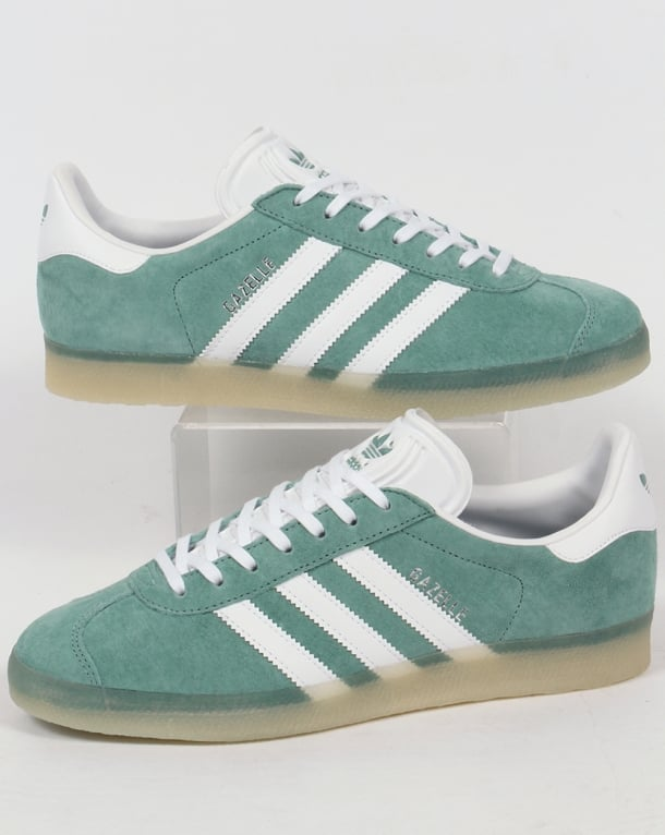 Adidas Gazelle Trainers Green Steel/Ice Gum