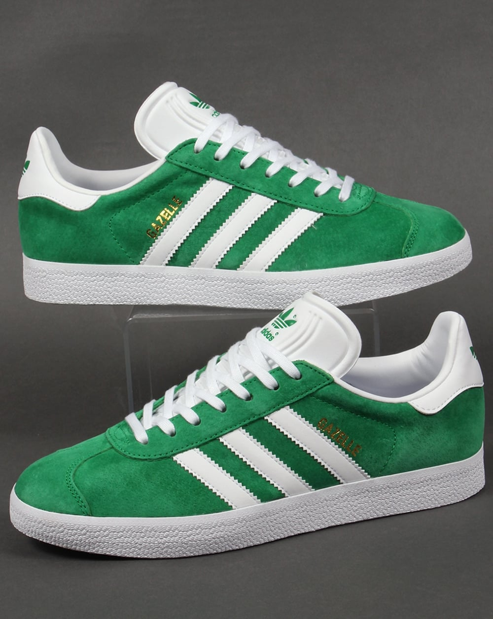 Mens Adidas Green And White Shoes Gazelle