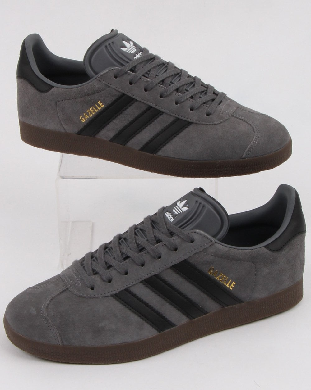 new style biggest discount temperament shoes Adidas Gazelle Trainers Grey/black