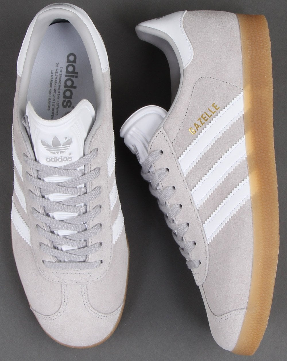 buy online 48e35 8da0d adidas Trainers Adidas Gazelle Trainers Grey White Gum