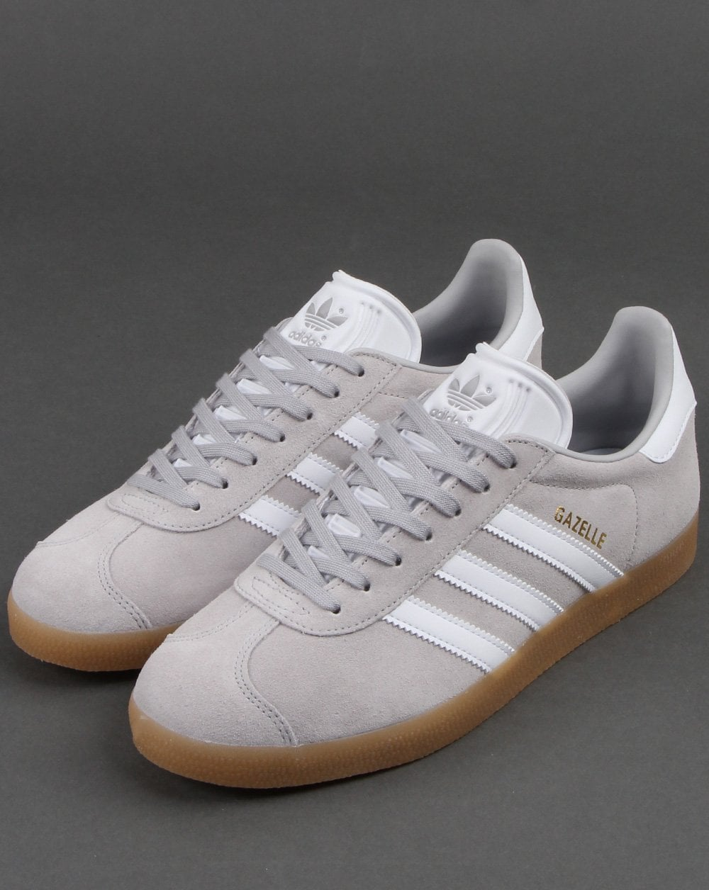 watch 3d9d2 b4d9c Adidas Gazelle Trainers Grey White Gum