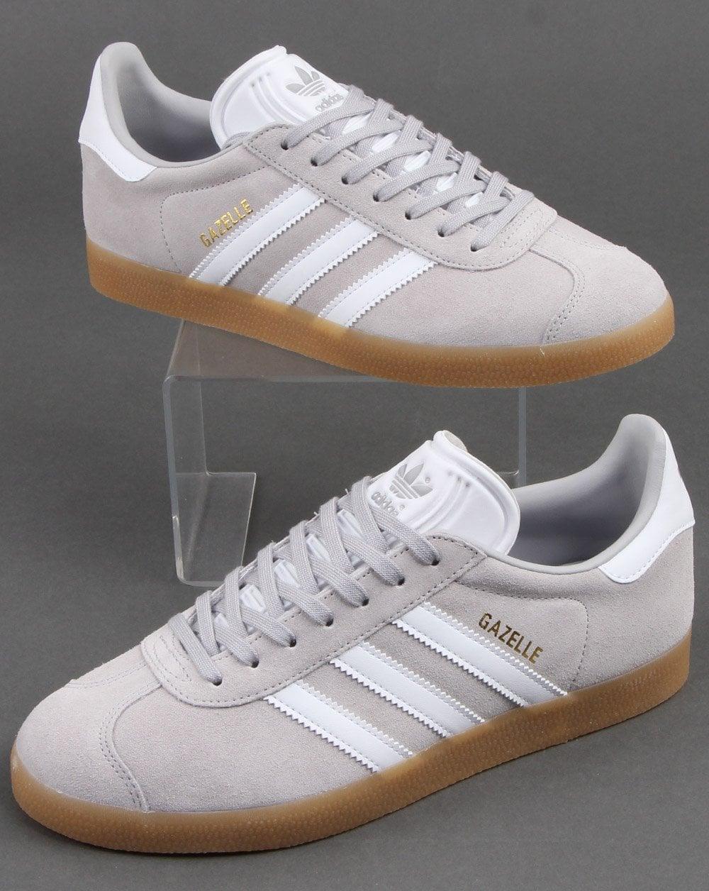 adidas originals grey and white gazelle trainers