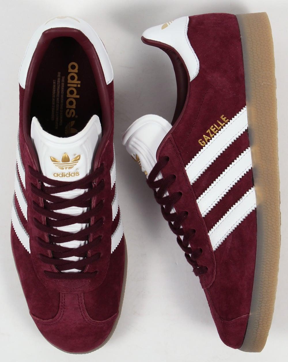 adidas gazelle maroon white