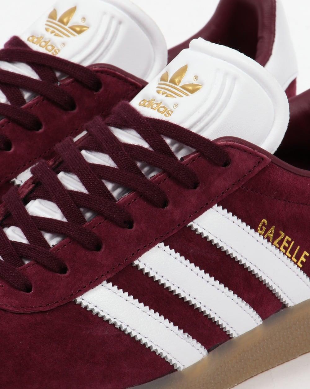 adidas gazelle maroon sneakers