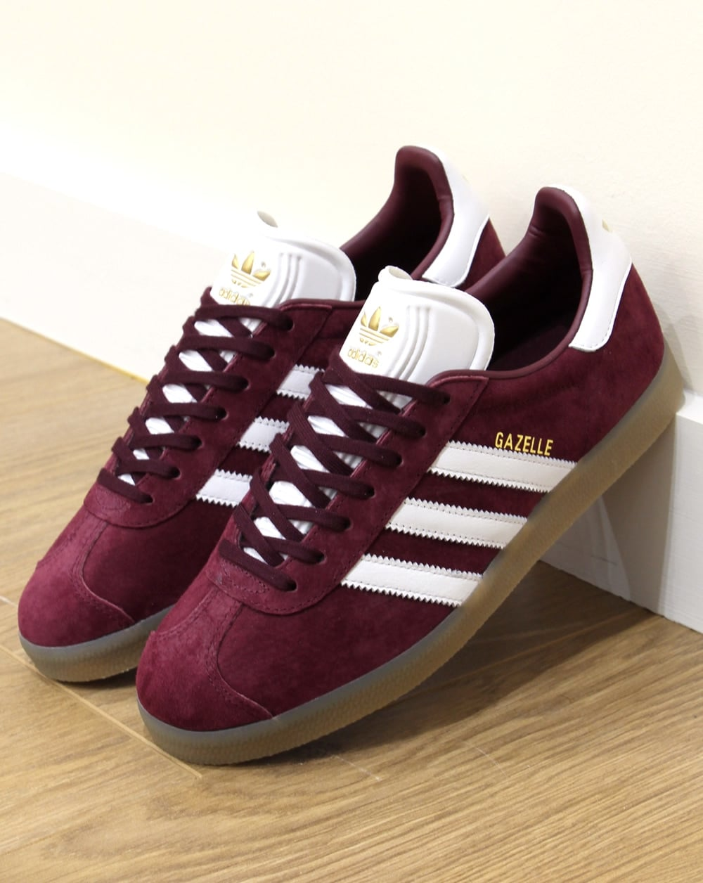 shoes for cheap 100% high quality fashion Adidas Gazelle Trainers Maroon/White/Gum