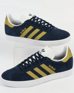 Adidas Gazelle Trainers Navy/Gold