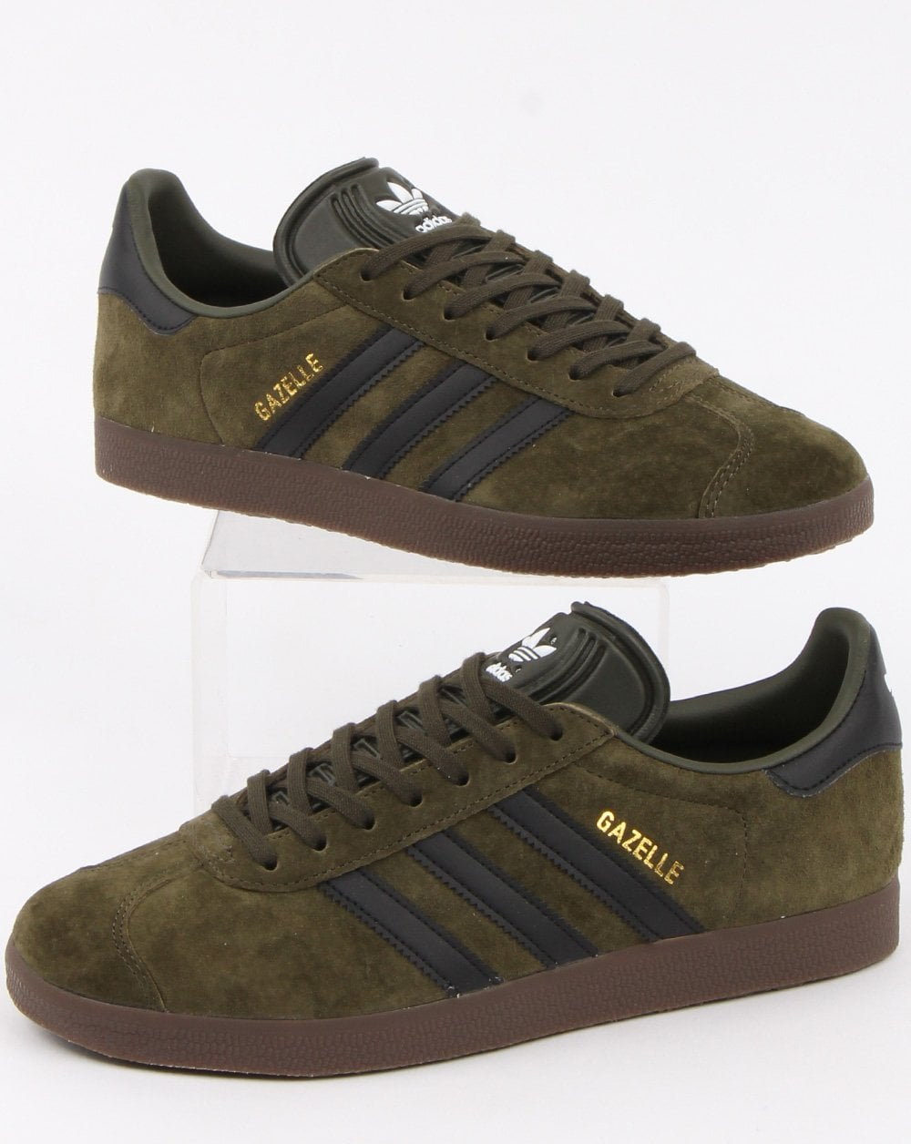 new concept b42c6 7e284 adidas Trainers Adidas Gazelle Trainers Night Olive  Black gum