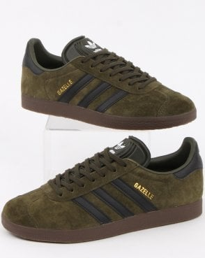 adidas Trainers Adidas Gazelle Trainers Night Olive / Black gum