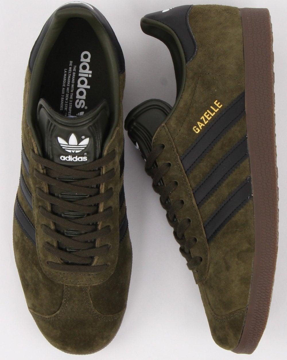 Adidas Gazelle Trainers Night Olive/Black/Gum