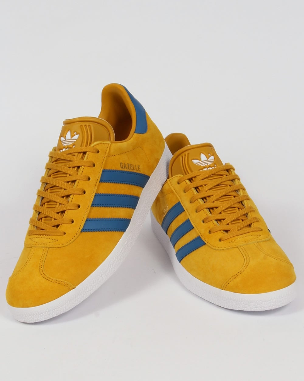 Adidas Gazelle Blue Yellow Suede Trainers Fawdingtonbmw Co Uk