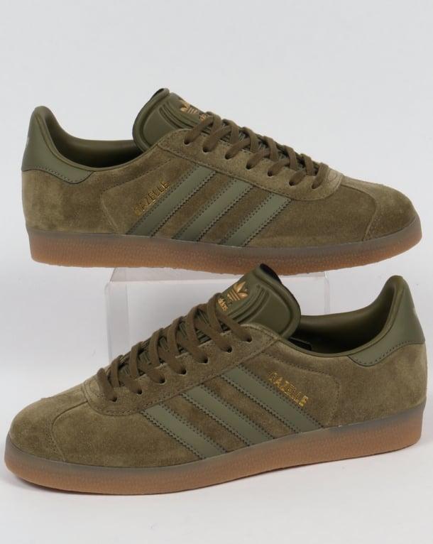 Adidas Gazelle Trainers Olive/Gum