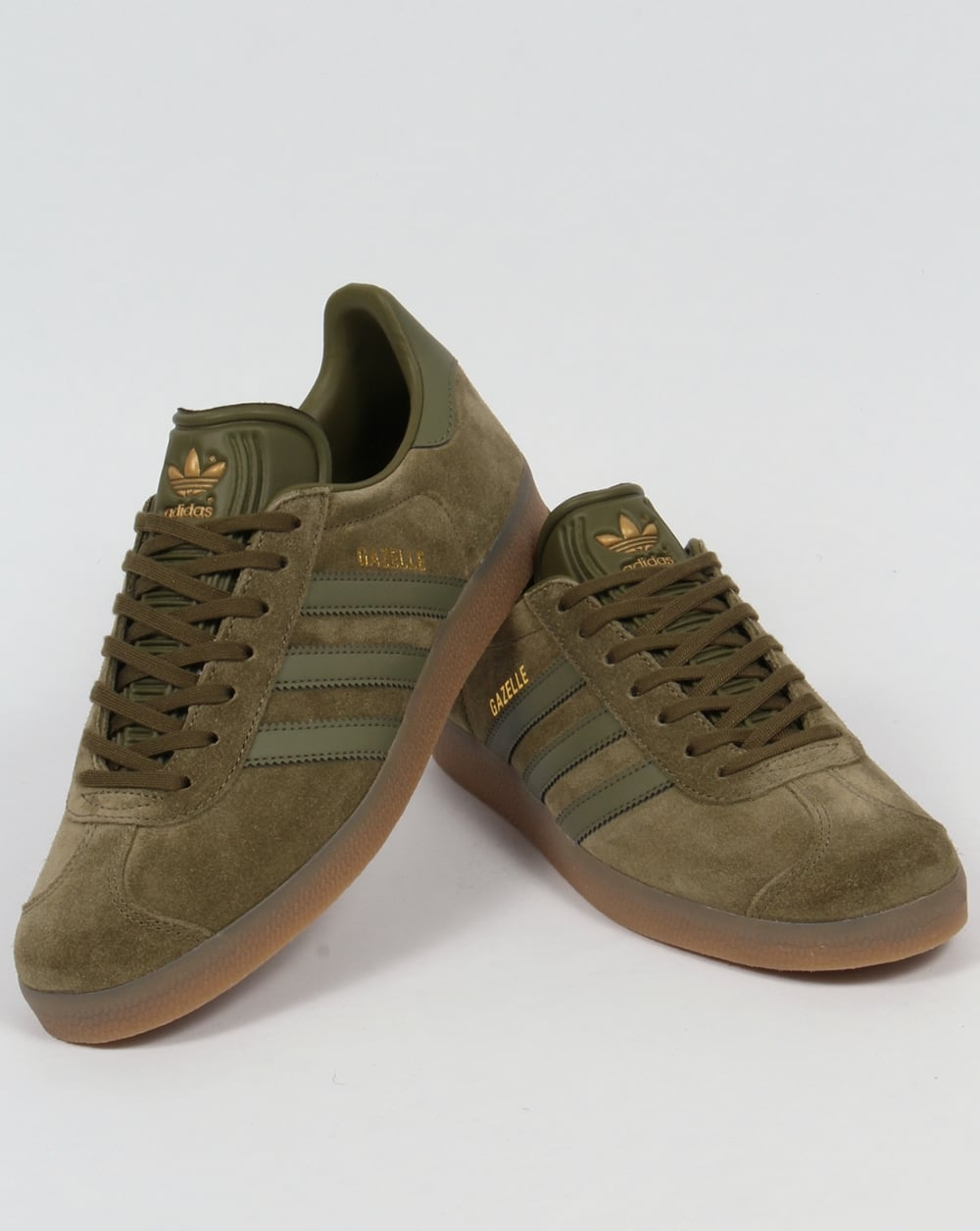 new arrival db296 116fb Adidas Gazelle Trainers OliveGum