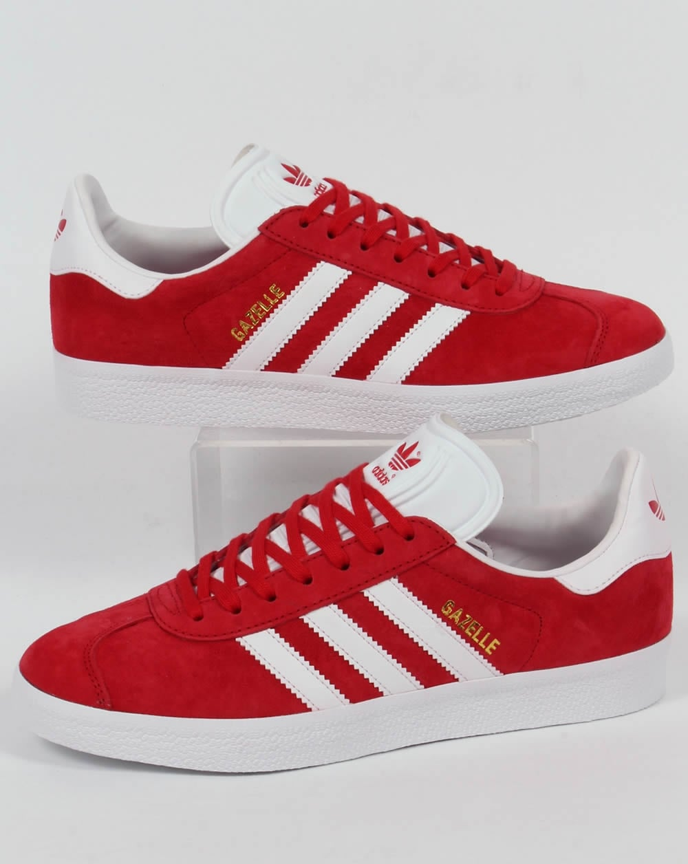 mens adidas gazelle ii red suede trainers