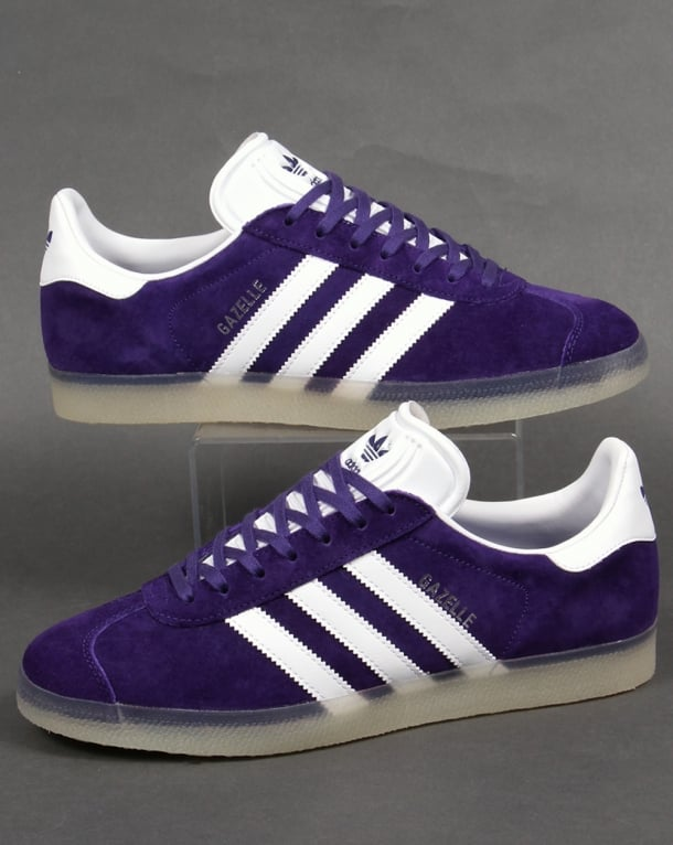Adidas Gazelle Trainers Purple White/Ice Gum Sole