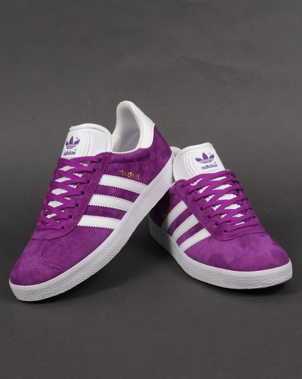 adidas gazelle purple and white