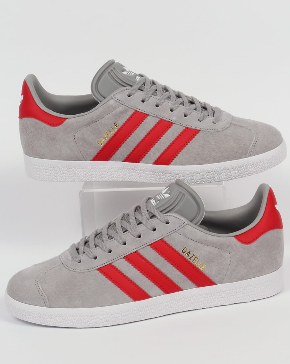 Adidas Gazelle Trainers Solid Grey/Red