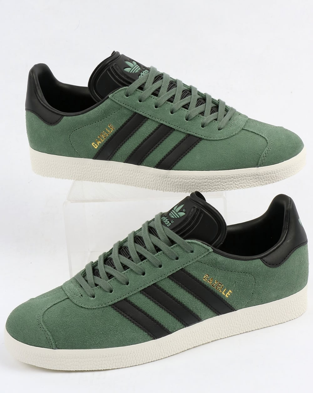 look out for separation shoes cozy fresh Adidas Gazelle Trainers Trace Green/Black