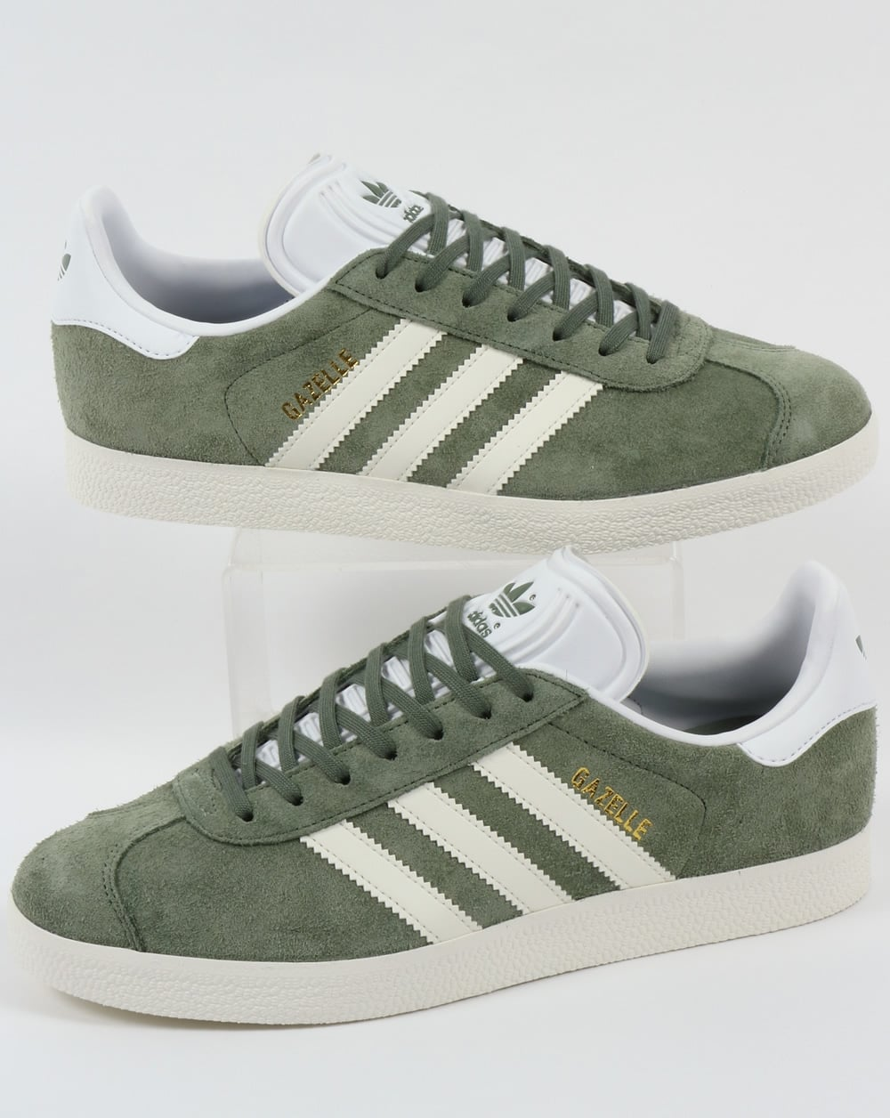 Adidas Gazelle Trainers Trace Green Off White Adidas