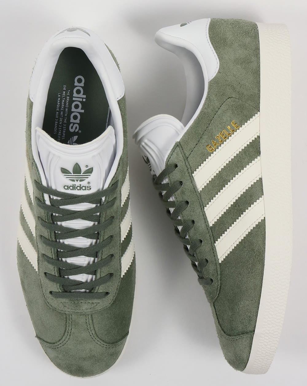 750b76e13526 Adidas Gazelle Trainers Trace Green Off White - Trainers from 80s ...