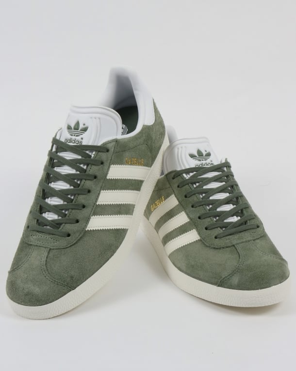 Rugido sello triple  Adidas Gazelle Trainers Trace Green/Off White - Trainers from 80s Casual  Classics UK